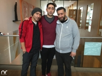 """Eko Fresh (Mitte) mit Begleitung und Kida Ramadan (rechts). Fresh und Ramadan sind derzeit mit dem Film """"3 Türken und 1 Baby"""" am Start - übrigens wurde der Film durch die hessische Filmförderung unterstützt und in Hessen gedreht!"""