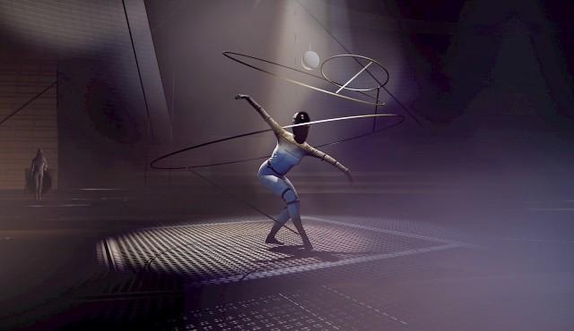 Tänzerin umgeben von Ringen. Grand Prix Digital für 100 Jahre Bauhaus